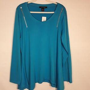 Ashley Stewart blue polyester top size 18/20 NWT